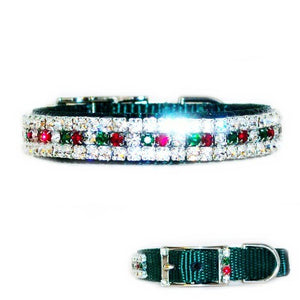 Swarovski crystal Christmas pet collar for dogs and cats.