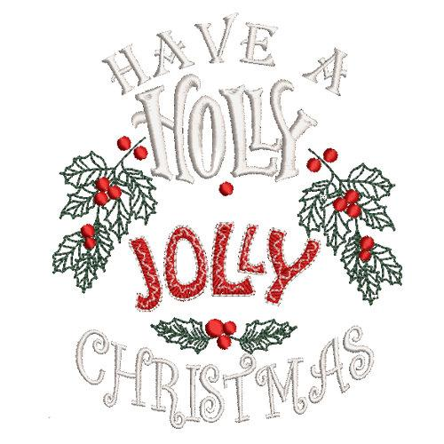Holly Jolly Christmas embroidery for dog shirt