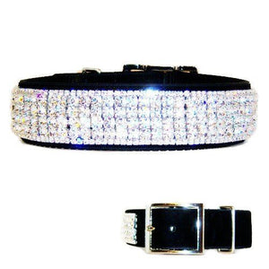 Hollywood Diamonds Crystal Velvet Dog Collar - For medium to large dogs - dog-collar-fancy