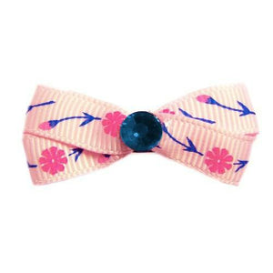 Lovely Hot Pink Floral Dog Hair Bow - Small Bows - dog-collar-fancy