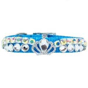 Ice blue crystal pet collar with crystal crown