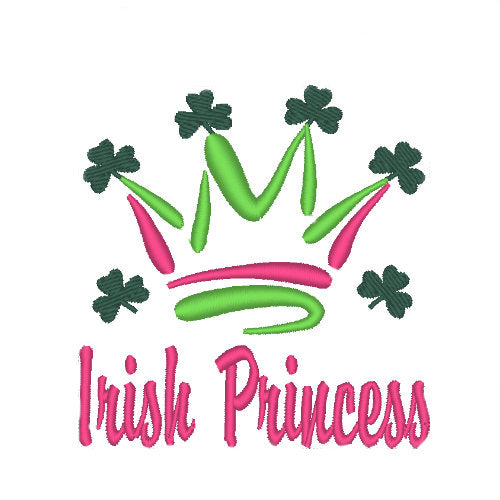 Irish Princess dog shirt embroidery close up