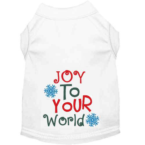 Joy to your World embroidered Christmas dog shirt