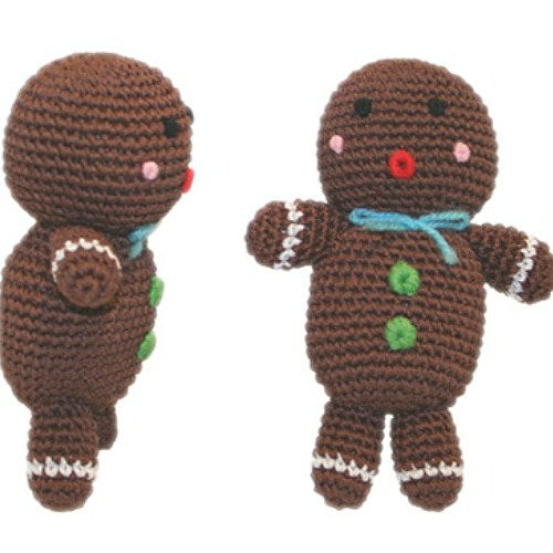 Cute gingerbread man dog toy with squeaker.