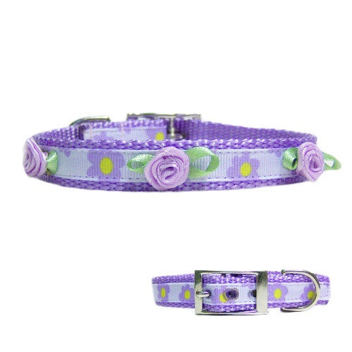Lilac and Flowers Pet Collar - For dogs and cats - dog-collar-fancy