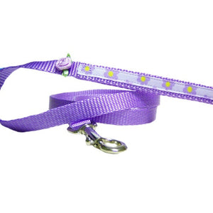 A lovely purple lilac pet leash with floral print and flower embellishment.