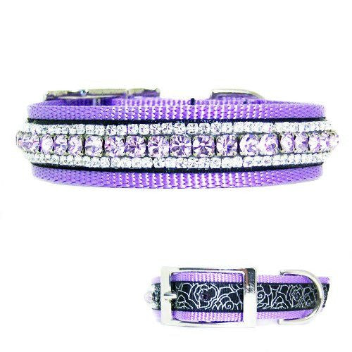 Lavish Lavender Crystal Dog Collar - For medium to large dogs - dog-collar-fancy