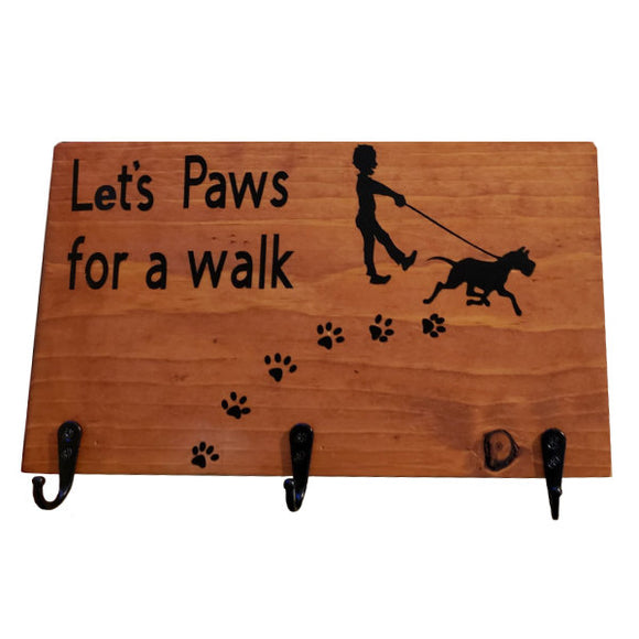 Dog Leash holder with paw prints in pine wood
