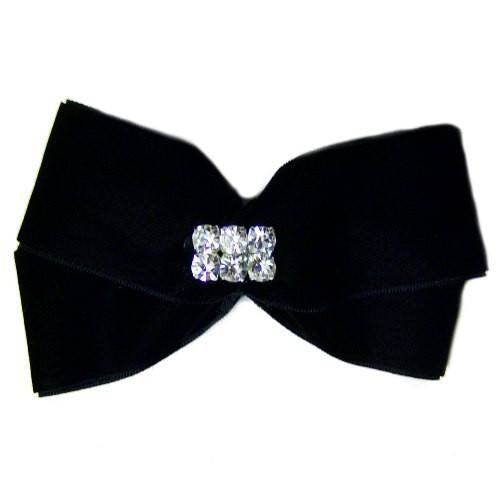A rich black velvet dog hair bow with crystal bling for large dogs.