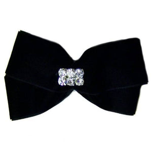 Black Velvet and Crystal Dog Hair Bow - dog-collar-fancy