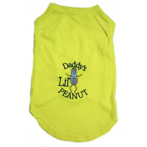 A cute yellow dog shirt with embroidered peanut man and the words Daddy's Lil' Peanut.