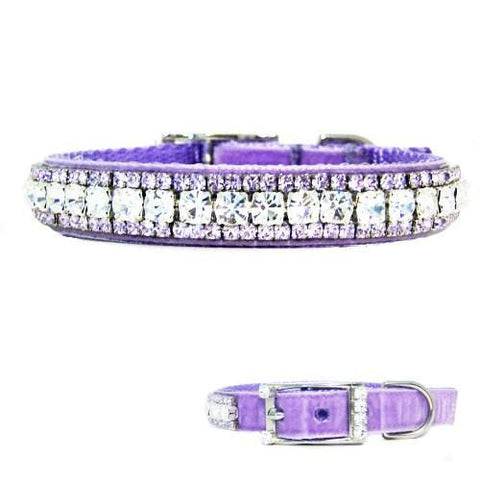 A lovely lilac purple velvet pet collar with clear and violet crystals. So pretty!