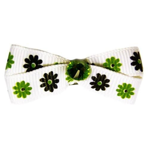 Dog hair bow lime green and forest green flowers on white ribbon.