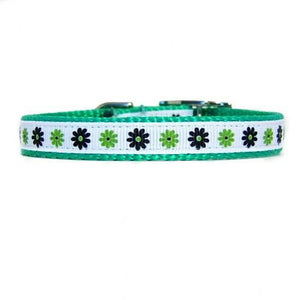 Lime green floral decorative nylon pet collar for dogs and cats.