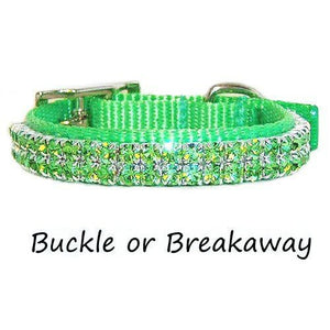 This cute lime green collar for small pets is decorated with peridot lime green crystals.