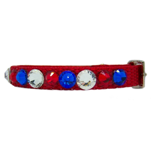 Little American small crystal pet collar side view
