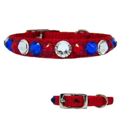 Little American small pet collar in red, white and blue crystals