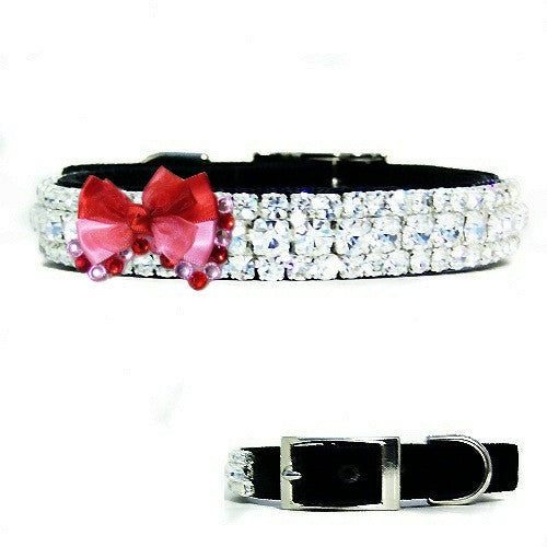 Red and pink dog bow with crystals pet collar decoration.