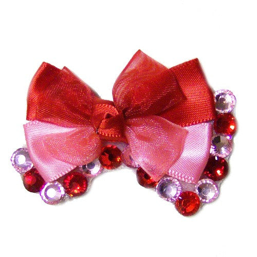 The sweetie pie dog collar bow with red and pink crystals.