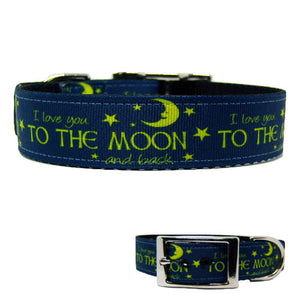 Love You To The Moon Dog Collar - For medium to large dogs - dog-collar-fancy