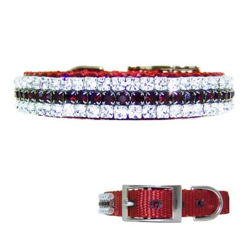 A red pet collar with siam ruby red and clear crystals for holidays or anytime.