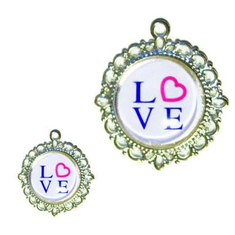 A cute pet collar charm with the word LOVE and a pink heart.