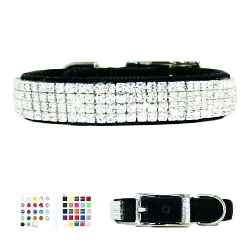 4 rows of small crystal on a nylon or velvet dog collar low profile style.