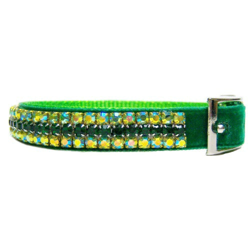St Patrick's Day Luck of the Irish velvet and crystal pet collar.