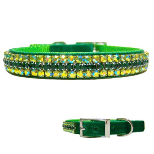 Luck of the Irish Crystal Velvet Collar - For dogs and cats - dog-collar-fancy
