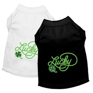 St Patrick's dog shirts with embroidered work lucky.