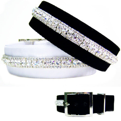 Rich velvet big dog collar with crystals that look like diamonds.