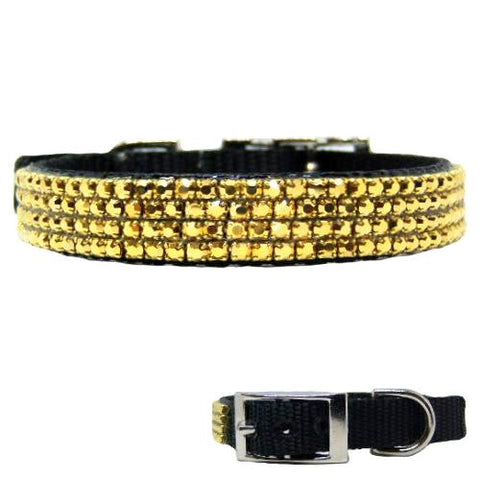 Lush Gold Crystal Collar - dog-collar-fancy