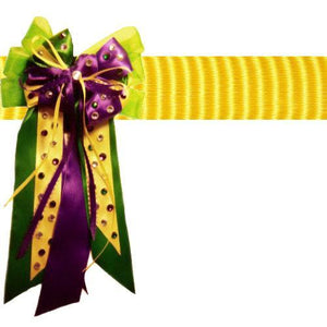 Mardi Gras dog collar bow with Crystals