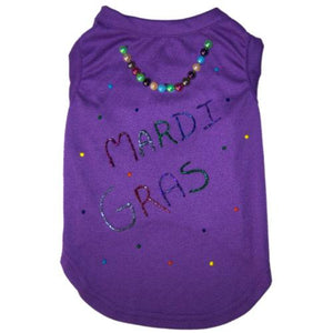 Fancy hand painted Mardi Gras dog shirt with beads