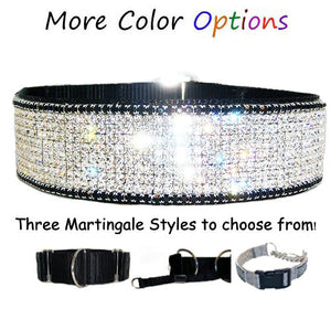 Bling martingale dog collar with crystals for big dogs