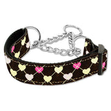 Argyle hearts martingale collar dark brown