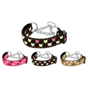 Martingale dog collar in argyle hearts print