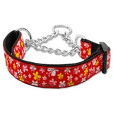 Red butterflies martingale dog collar