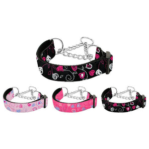 Hearts print martingale dog collar