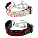 Adjustable martingale dog collar in cherries print