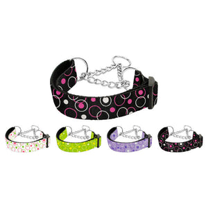 Retro dots printed martingale dog collar