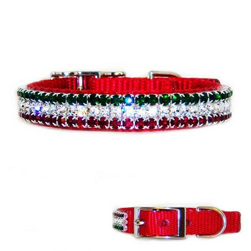 Merry Christmas Crystal Jeweled Pet Collar - For dogs and cats - dog-collar-fancy