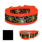Metallic Gold Halloween Webs Big Dog Collar - For large dogs - dog-collar-fancy