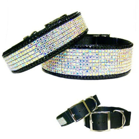 Midnight aurora borealis crystal jeweled dog collar for large dogs.