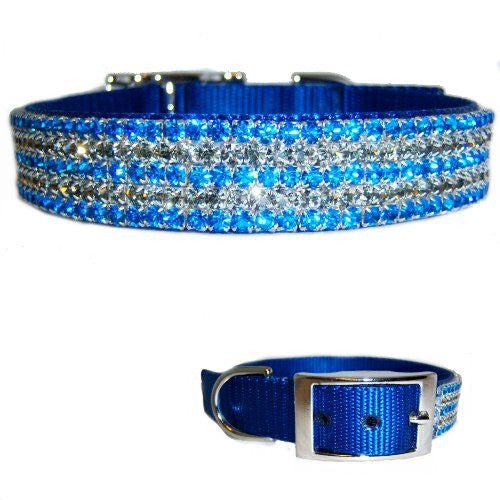 The perfect crystal collar for boy dogs in blue and black diamond crystals on a royal blue collar.