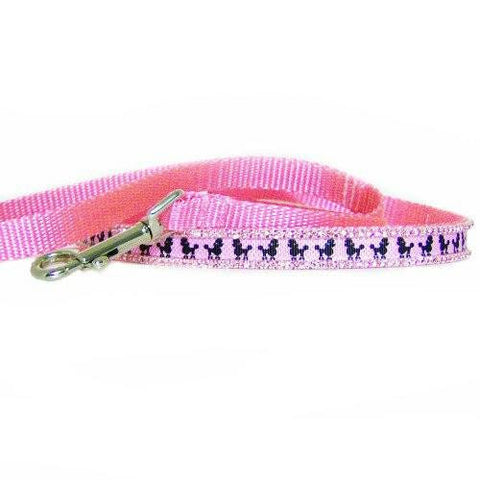 Pink poodle print dog leash with light pink crystals.