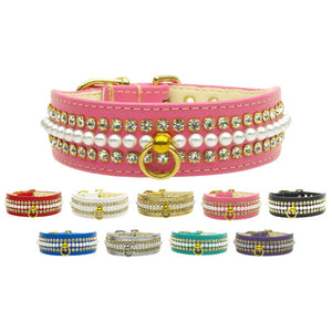 Pearl and Rhinestone Dog Collar 1 inch wide