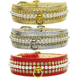 Pearl and Rhinestone Dog Collars color choice set 2