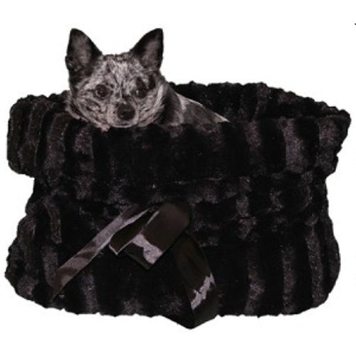 Plush pet bed combo in black plush fabric.