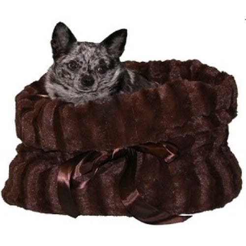 Plush pet bed combo in brown plush fabric.
